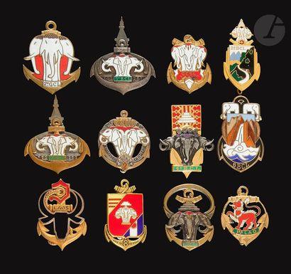 12 insignes Laotiens - Forces du Laos, 1er...
