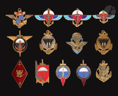 13 insignes Paras Coloniaux 1er(DP), 2e(Augis,...