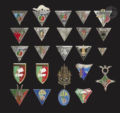 24 insignes du 2e REP dont 1ère (numéroté),...
