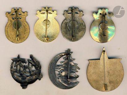 7 insignes - 4 modèles du GMNA (1 [ANC]), 21e Cie de Cdt, 1ère et 4e Demi-Briga...
