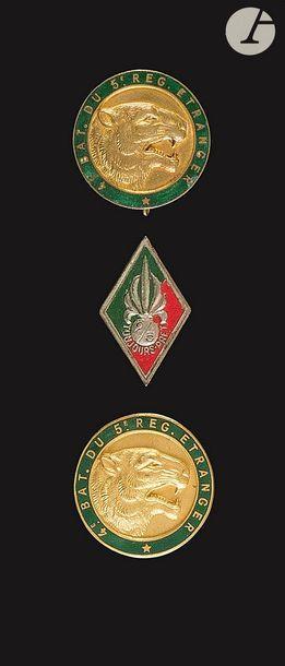 3 insignes du 5e REI - 2e Bataillon locale...