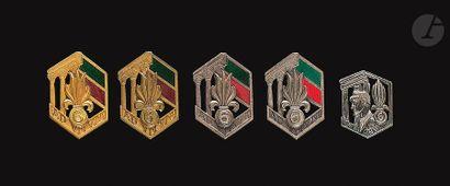 5 insignes du 6e REI - 4x Dr Ber (2 argentés,...
