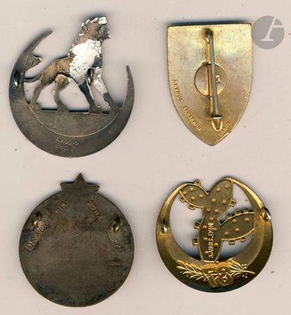 4 insignes - 5e Dina, 86e Dr Ber, 87e (Augis), 2e Brigade algéro-marocaine (Abp)....