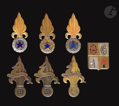 7 insignes Sahariens - Légion GCPLEM [ANC],...