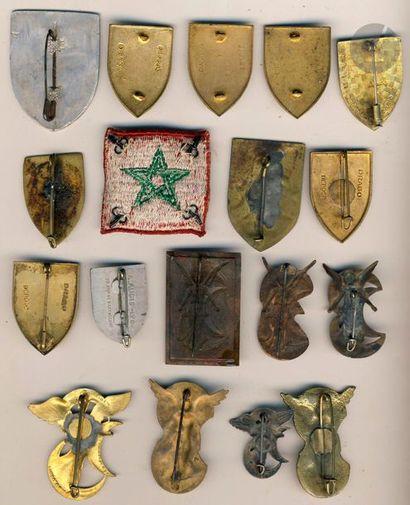 18 insignes GU - 6x 2e DIM(locale et argent), 7x 3e DIA, 2x 4e DMM Alu Augis et...