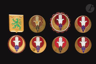 7 insignes du 1er Régiment de Spahis Algériens...