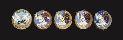 5 insignes - 4x 7e RSA (Dr Ber (en argent,...