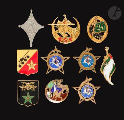 10 insignes- 3x 6e RSM (Dr Ber [SA], Courtois,...