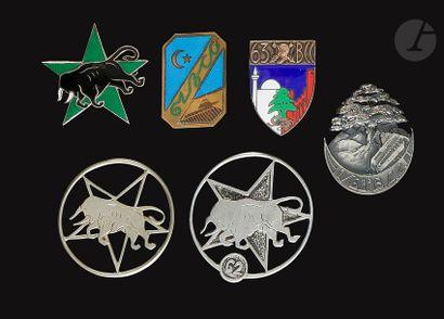 6 insignes Chars de Combat - 61e BCC (Abpd),...