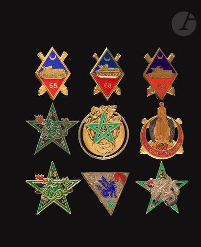 9 insignes- 4x 68e RAA (Dr Ber, Abp, Dom,...