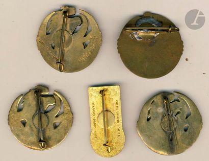 5 insignes BM 7e RTA Indochine – 4x 4e Bn (dont 2 locales 1 AC) et 5e Bn Dom