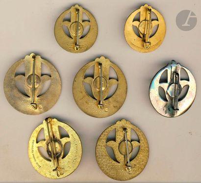 9 insignes 22e RTA - Abpd [ANC], Drago (argent), DP, Ar émail [AC] + 5x 22e BTA...