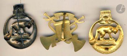3 insignes du 28e RTT (2x Fontanel-Lyon dont 1 doré [AC]), Nouba.