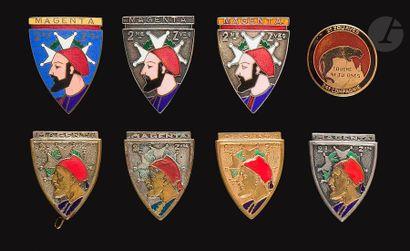 8 insignes 2e Zouaves dont 24e Cie artisanale,...