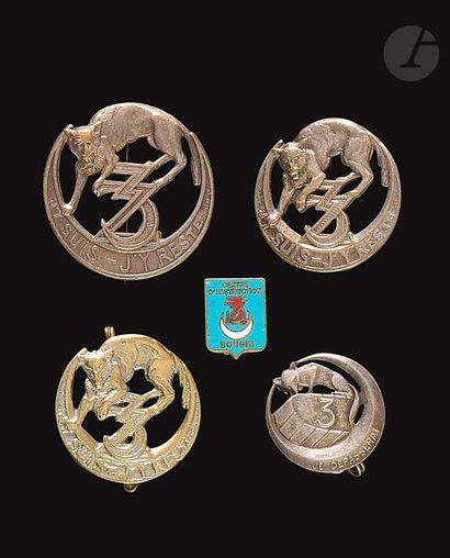 5 insignes 3e Zouaves dont surmoulage Indochine...