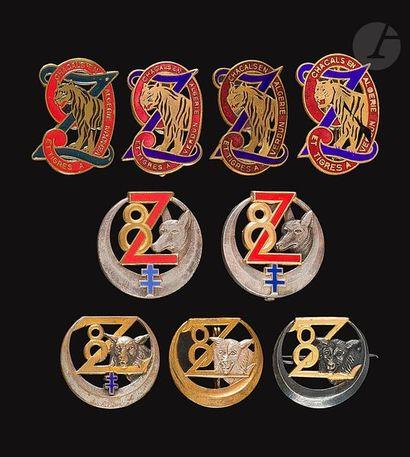 9 insignes 8e Zouaves (dont DP en argent,...