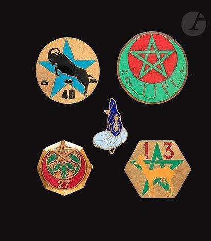 5 insignes de Goums 13e, 25e (femme bleue),...