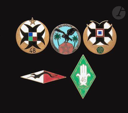 5 insignes de Goums 41e, 44e, 46e, 48e, 50e....