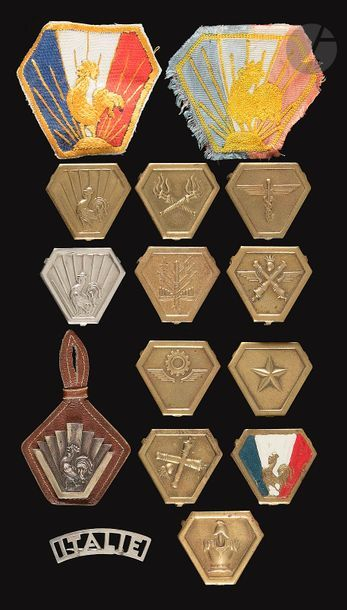 15 insignes du CEF en Italie dont barrette...
