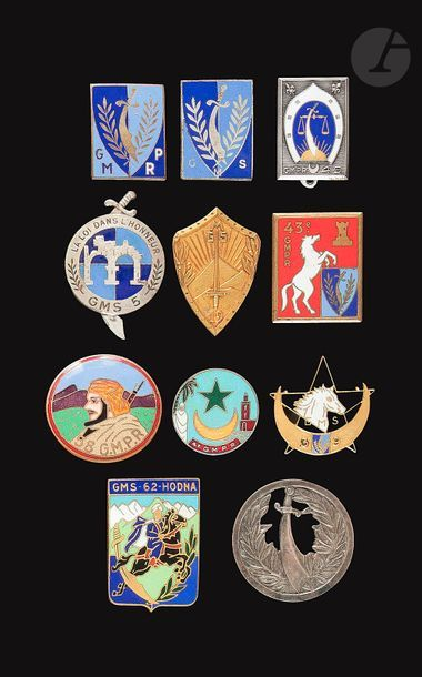 11 insignes - GMPR, 4e, 43e, 49e, 58e, GMS...
