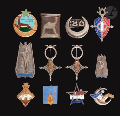 12 insignes Goums - Sahariens MSTG, DP, 2x...