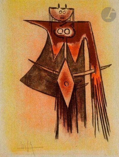 Wifredo LAM [cubain] (1902-1982) Demoiselle...