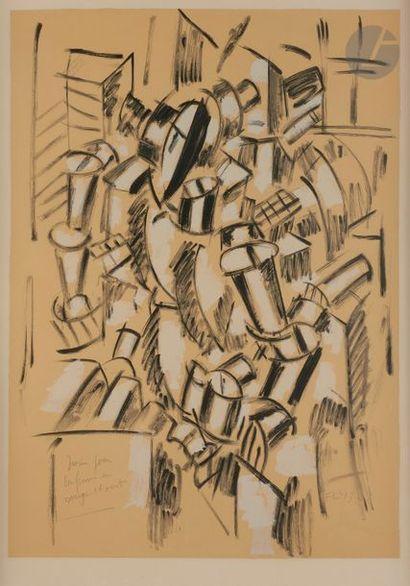 Fernand LÉGER (1881-1955) (d'après) Dessin pour «La Femme en rouge et vert», vers...