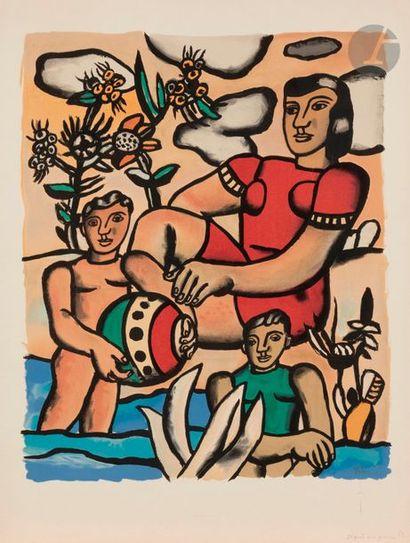 Fernand LÉGER (1881-1955) (d'après) Baigneuse et enfants, vers 1955 Lithographie...