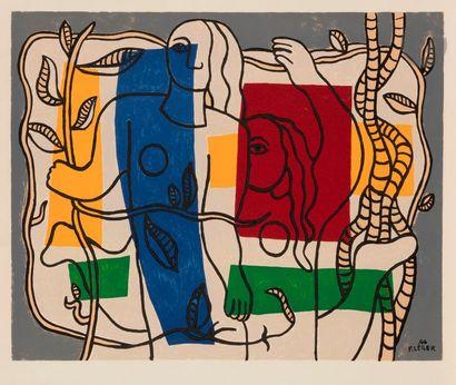 Fernand LÉGER (1881-1955) (d'après) Composition, têtes, cordes et feuillages Lithographie...