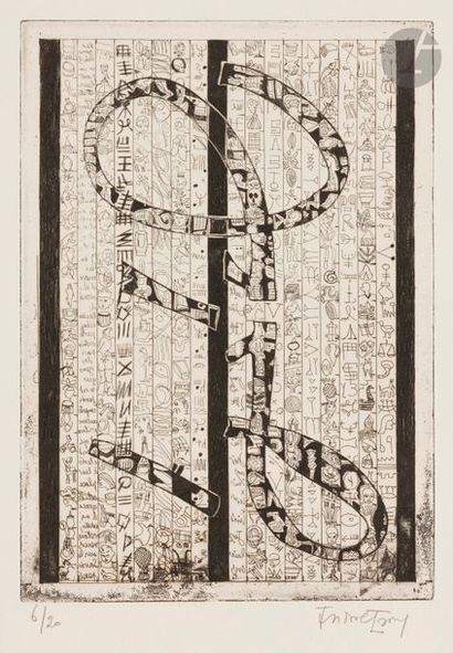 Isidore ISOU (1925-2007) Composition lettriste,...
