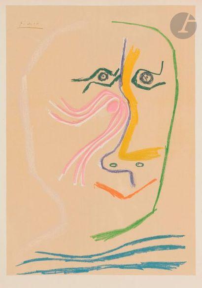 Pablo PICASSO (1881-1973) (d'après) Visage (hommage à René Char), 1969 Lithographie...