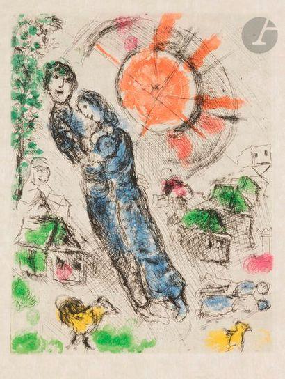 Marc CHAGALL (1887-1985) Soleil aux amoureux, 1968 Eau-forte et aquatinte en couleurs....