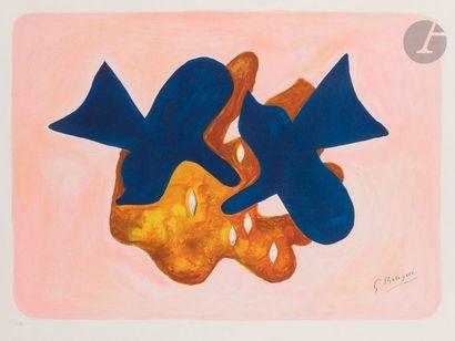 Georges BRAQUE (1882-1963) (d'après) Les Oiseaux bleus Lithographie en couleurs....