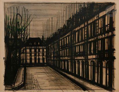 Bernard BUFFET (1928-1999) La Place des Vosges, 1962 Lithographie en couleurs. Épreuve...