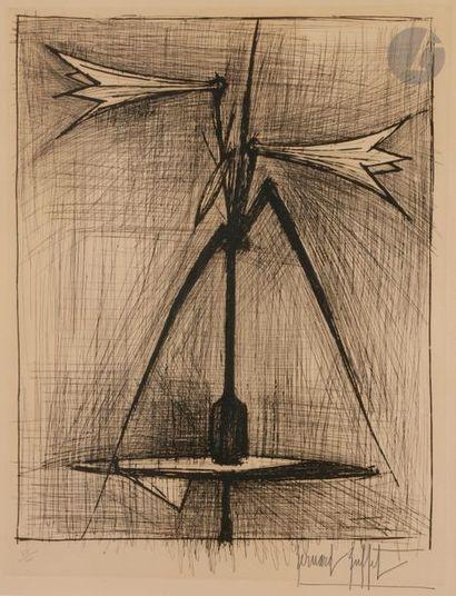 Bernard BUFFET (1928-1999) Bouquet de lys, 1963 Pointe sèche. Épreuve sur vélin,...