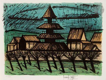 Bernard BUFFET (1928-1999) Temple To-Ji, Kyoto (pl. pour «Le Voyage au Japon»,...