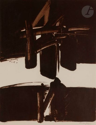 André MARFAING (1925-1987) Composition Lithographie en brun. Épreuve sur vélin,...