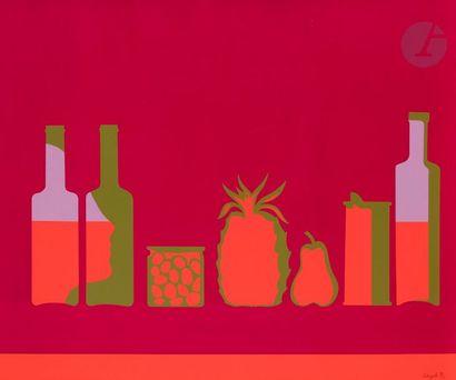Roy ADZAK [anglais] (Wright ROYSTON, dit) (1927-1987) Nature morte aux fruits et...