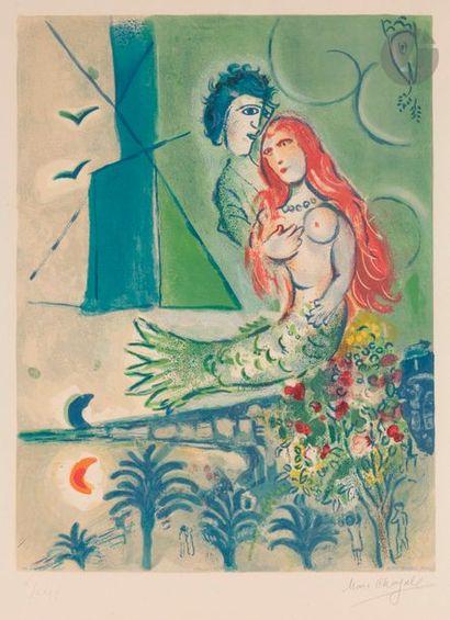 Marc CHAGALL (1887-1985) (d'après) La Sirène au poète, 1967 Lithographie en couleurs...