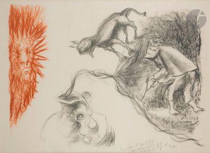 Gérard GAROUSTE (né en 1946) La Source, 2001 Lithographie en couleurs. Épreuve sur...