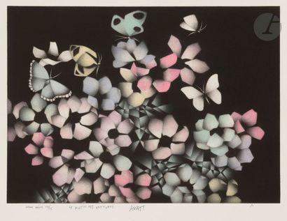 Mario AVATI (1921-2009) Le Matin des anémones, 1990 Manière noire en couleurs. Épreuve...