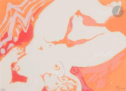 Édouard PIGNON (1905-1993) Femme nue allongée Sérigraphie en couleurs. Épreuve sur...