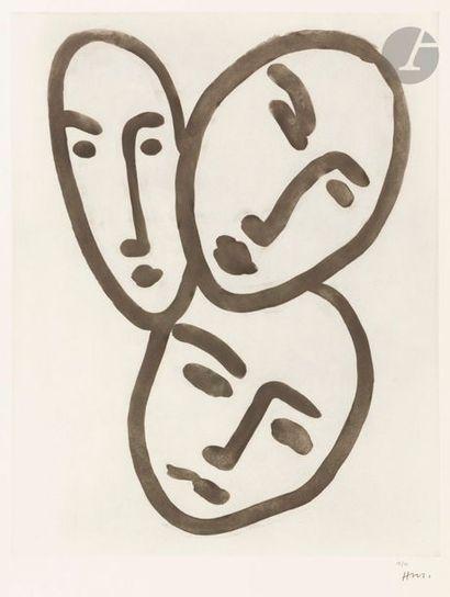 Henri MATISSE (1869-1954) Trois têtes; À l'amitié (masques d'Apollinaire, Matisse...