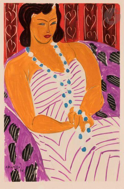Henri MATISSE (1869-1954) (d'après) Femme à la robe blanche, ou La Martiniquaise,...