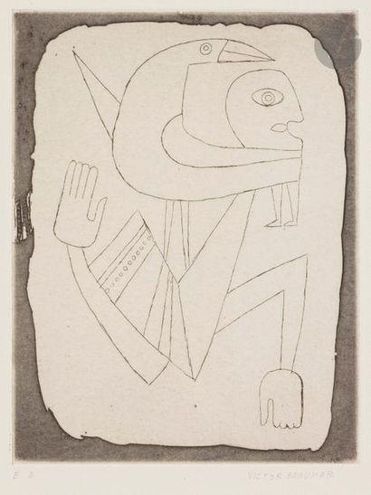Victor BRAUNER [roumain] (1903-1966) Figure-oiseau,...