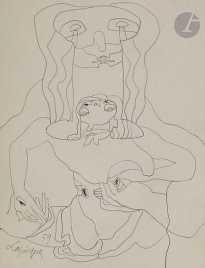 Charles LAPICQUE (1898-1988) Composition,...
