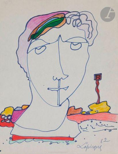 Charles LAPICQUE (1898-1988) Buste, 1982...