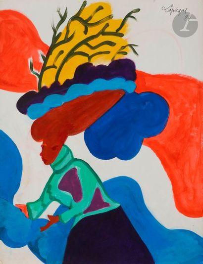Charles LAPICQUE (1898-1988) Femme au chapeau,...