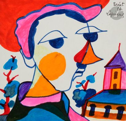 Charles LAPICQUE (1898-1988) Visage, 1986...