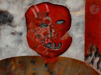 Paul RAMBIÉ (né en 1919) Masque rouge, 1973...